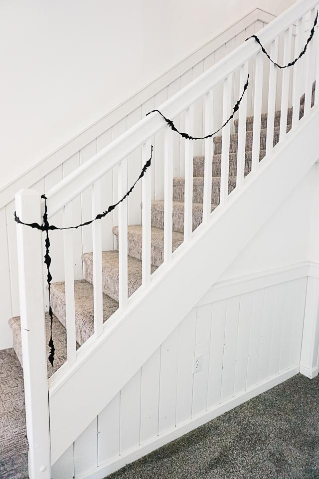 diy bat garland on banister