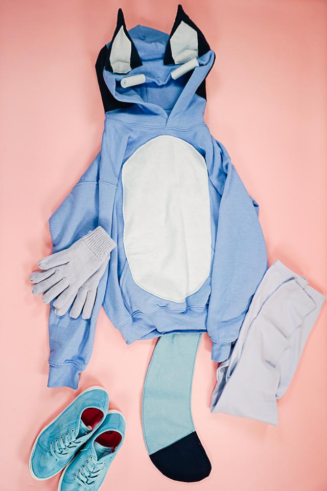 assemble DIY Bluey Costume