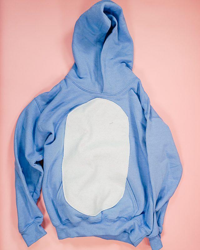 sew tummy onto sweatshirt front