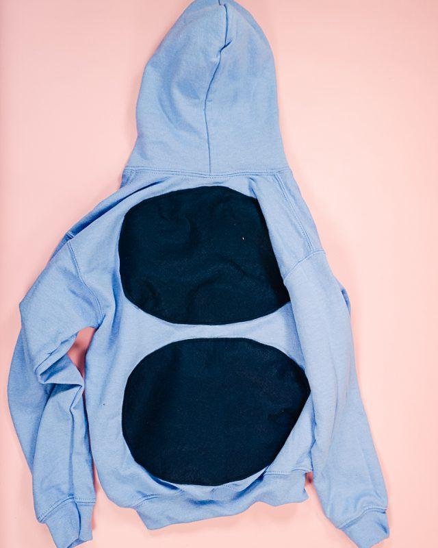 sew sponts onto sweatshirt back