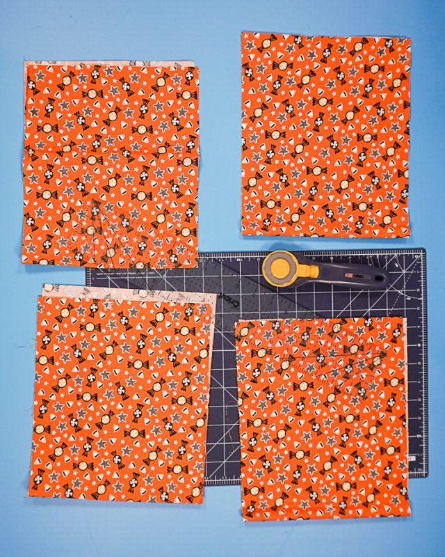 cut four rectangles