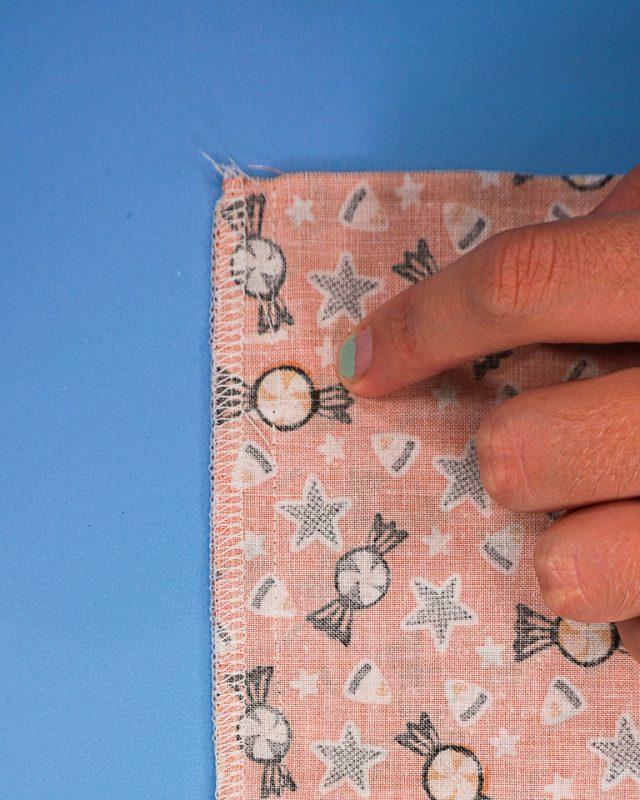 sew to mark, leave hole, sew again