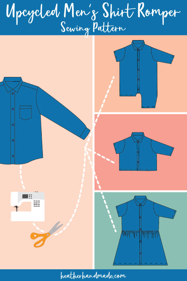 upcycled men's shirt romper pattern