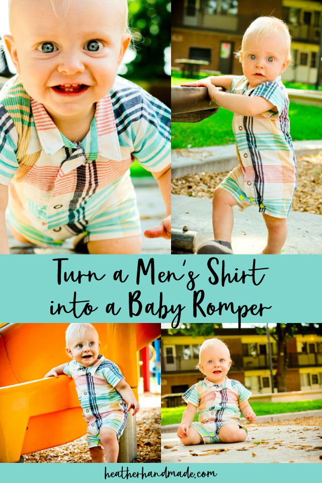 Turn a Men's Shirt into a Baby Romper with a Free Sewing Pattern